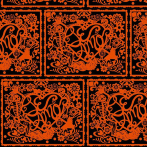 Day of the dead papel picado orange