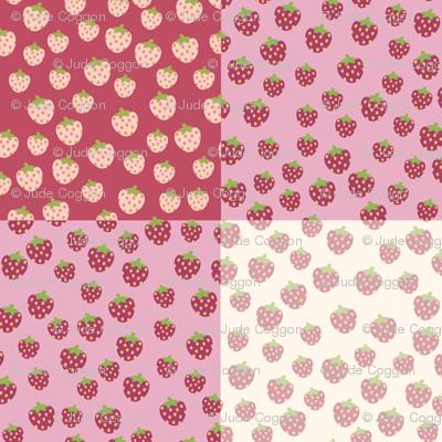 gingham strawberry picnic rug