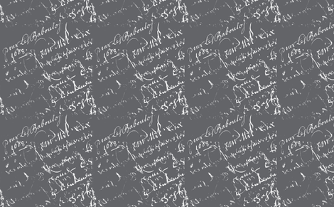 Sarah's French Script Gray fabric by karenharveycox on Spoonflower - custom fabric