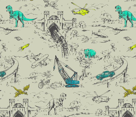 Adventure Toile fabric by pattern_state on Spoonflower - custom fabric