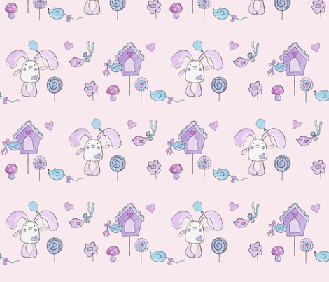 Bessie Bunny - pink garden fabric by uzumakijo on Spoonflower - custom fabric