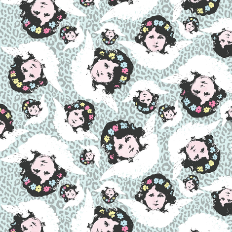 Angels on leopard fabric by susiprint on Spoonflower - custom fabric