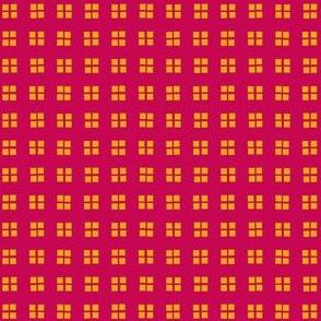 block print alizarin-golden ochre