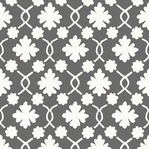 Charcoal Floral Trellis
