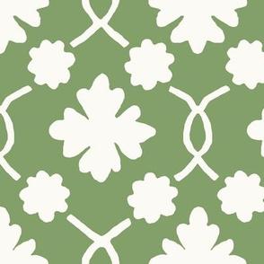 Green Summer Lawn Floral Trellis
