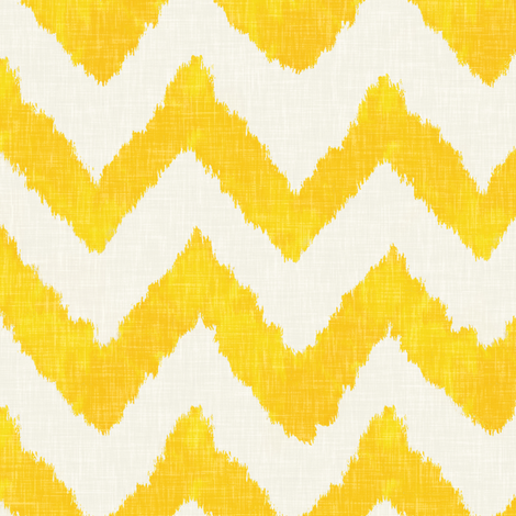 Lemon and Linen Watercolor Ikat Chevron  fabric by willowlanetextiles on Spoonflower - custom fabric