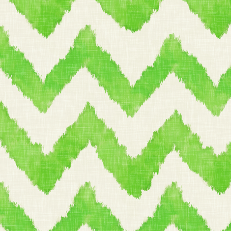 Lime and Linen Watercolor Ikat Chevron fabric by willowlanetextiles on Spoonflower - custom fabric