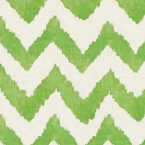 Lime and Linen Watercolor Ikat Chevron
