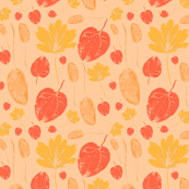 Three mistery leaves - peach palette