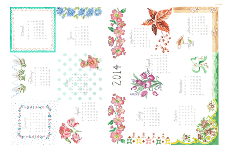 2014_calendar_fabric fabric by bibliosophy on Spoonflower - custom fabric