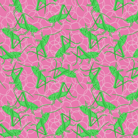 Ditsy Green Cricket on Pink Bubbles fabric by lovelyjubbly on Spoonflower - custom fabric