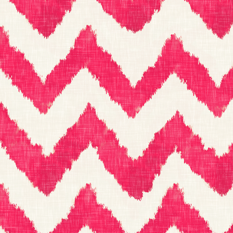 Raspberry on Linen Ikat Watercolor Chevron fabric by willowlanetextiles on Spoonflower - custom fabric