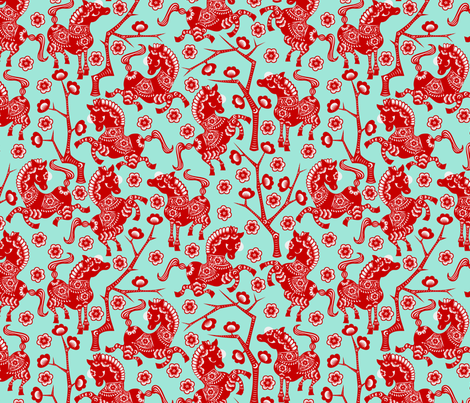 Year of the Horse - Red on Turquoise fabric by thirdhalfstudios on Spoonflower - custom fabric