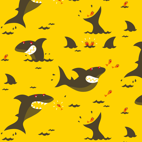 Shark attack! fabric by verycherry on Spoonflower - custom fabric