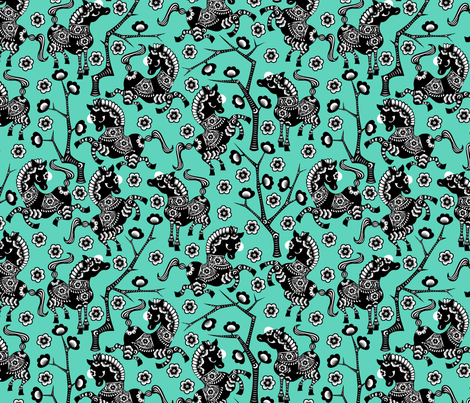 Year of the Horse - Black on Turquoise fabric by thirdhalfstudios on Spoonflower - custom fabric