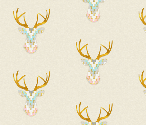 Telluride Deer in Pink, Gray and Turquoise fabric by willowlanetextiles on Spoonflower - custom fabric