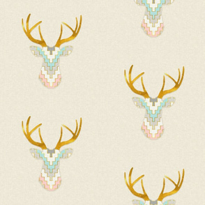 Telluride Deer Silhouette in Pink, Gray and Turquoise