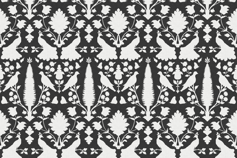 Avignon in Black Linen fabric by sparrowsong on Spoonflower - custom fabric