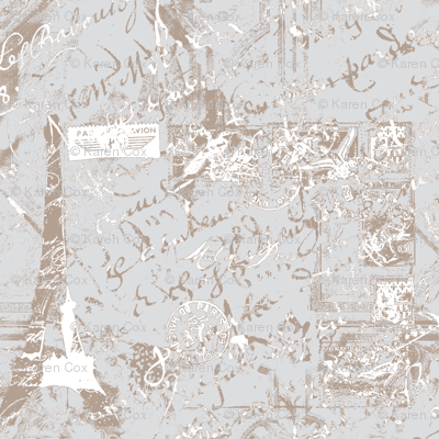 Parisian French script on gray