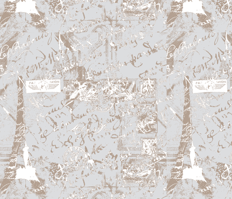 Parisian French script on gray fabric by karenharveycox on Spoonflower - custom fabric