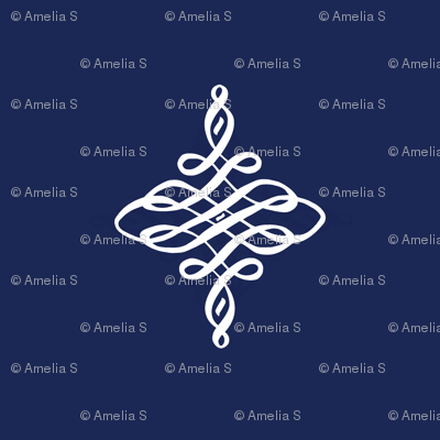 Reverse Flourish in Classic Navy and White