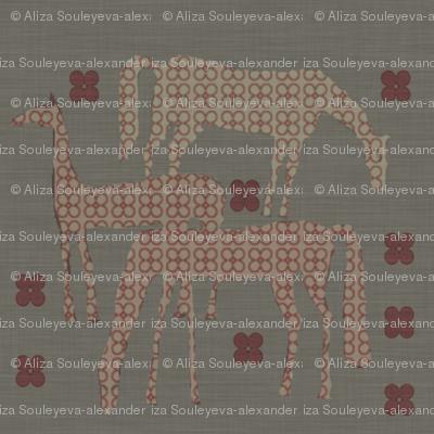 Horses in a field linen
