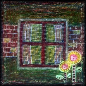 Window Flowers Oil Pastels