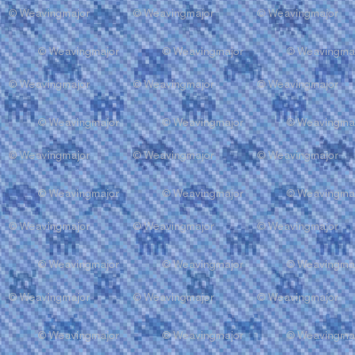 Alien invasion on pixelated faded denim