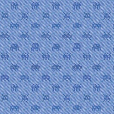 Alien invasion on pixelated faded denim fabric by weavingmajor on Spoonflower - custom fabric
