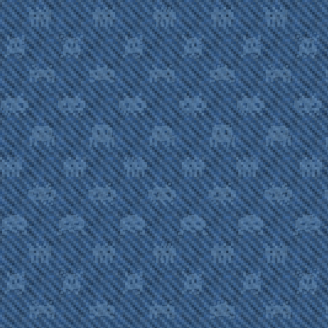Alien invasion on pixelated indigo fabric by weavingmajor on Spoonflower - custom fabric