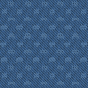 Alien invasion on pixelated indigo