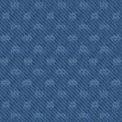 Alien invasion on pixelated indigo