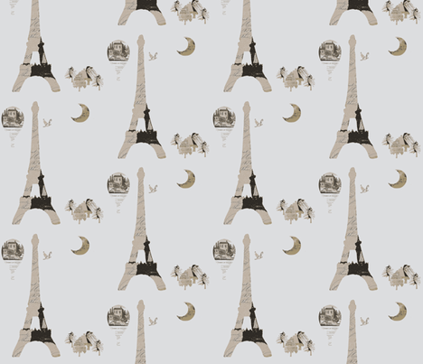 Eiffel Tower Gray fabric by karenharveycox on Spoonflower - custom fabric