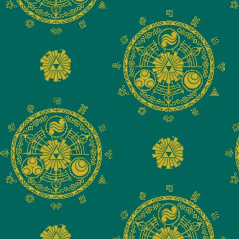Hyrule Medallions Teal fabric by aimee on Spoonflower - custom fabric