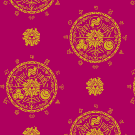 Hyrule Medallions Dark Pink fabric by aimee on Spoonflower - custom fabric
