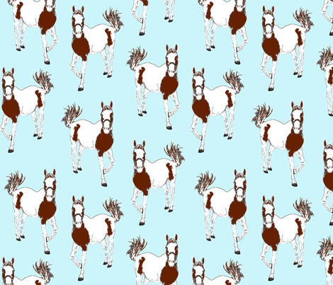 horses blue fabric by weejock on Spoonflower - custom fabric