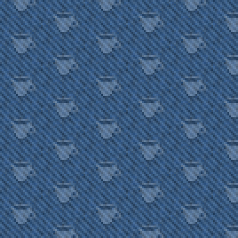 coffee cup icons on pixelated indigo denim fabric by weavingmajor on Spoonflower - custom fabric
