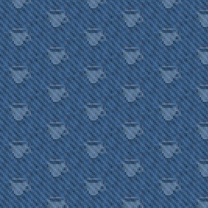 coffee cup icons on pixelated indigo denim