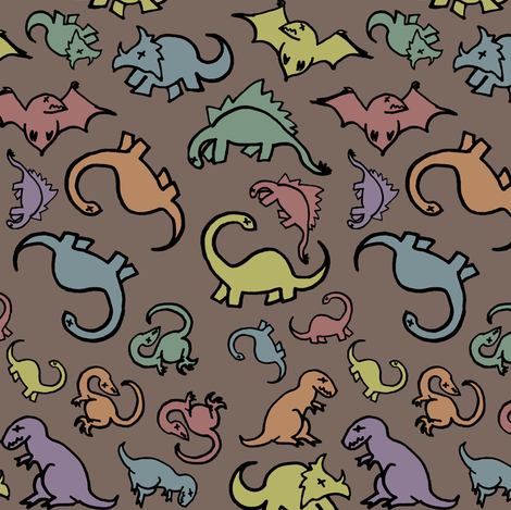 Rainbow Dinosaur Fossils fabric by pond_ripple on Spoonflower - custom fabric