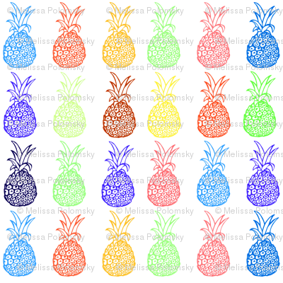 Bright Primary Colors Pineapple Party- LARGE print