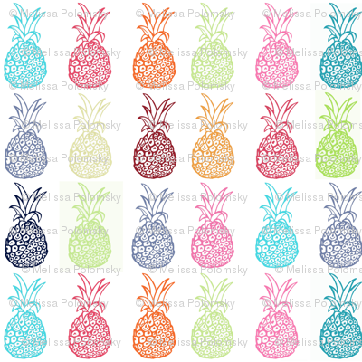 Colorful Pineapple Party- LARGE print
