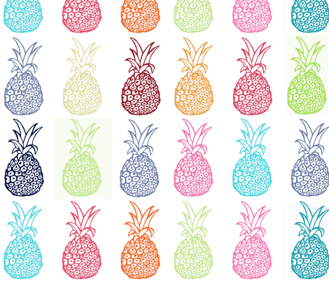 Colorful Pineapple Party- LARGE print fabric by theartwerks on Spoonflower - custom fabric