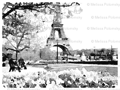 Black and White Paris Watercolor