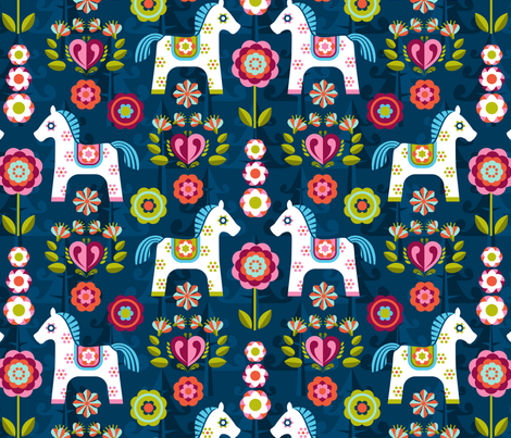 painted ponies fabric by cjldesigns on Spoonflower - custom fabric