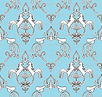 damask_horse_and saddle_blue