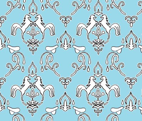 damask_horse_and saddle_blue fabric by auntcindys on Spoonflower - custom fabric