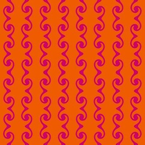 Swirly Stripes --- Magenta on Orange