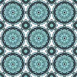 Teal Blue Circles on White Retro Pattern