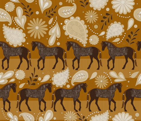 A Dance with horses fabric by liluna on Spoonflower - custom fabric