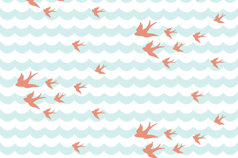 Ocean Flight in Coral and Mint fabric by willowlanetextiles on Spoonflower - custom fabric